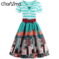 CharMma Vintage Striped Bowknot Flare Dress Plus Size Green Print Party Dresses Short Sleeve Midi A