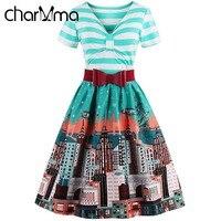 CharMma Vintage Striped Bowknot Flare Dress Plus Size Green Print Party Dresses Short Sleeve Midi A