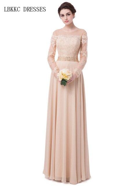 Robe De Soiree Champagne Evening Dress Long Sleeves Chiffon Appliques Beads Vestido  De Festa Longo Abiye Abendkleider 2017 bcebe308399c
