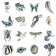 Модные стразы в виде кошки/лисы/бабочки, натуральная ракушка в виде животного, броши и булавки, подарок для шарфов, Женские Ювелирные изделия