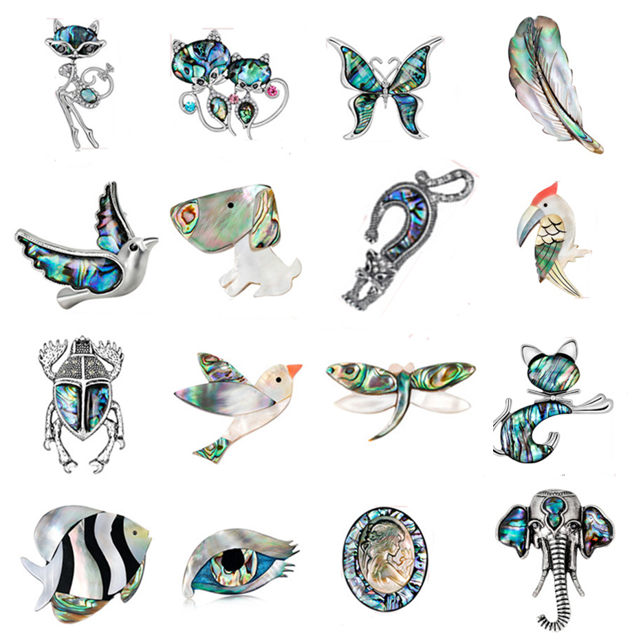 Fashion Rhinestone Cat/Fox/Butterfly  Natural Abalone Shell Animal Patterns Brooches And Pins Gift For Scarves Women Jewelry
