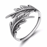 TIGRADE Fashion Treny Vintage Jewelry 925 Sterling Silver Leaf Ring Wedding Engagement Promise Band For Women