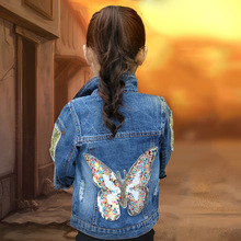 Jackets Girls Denim Jacket Cardigan Coat kids Jeans Outerwear Butterfly Embroidery Sequins Children Clothing Spring Kids Clothes