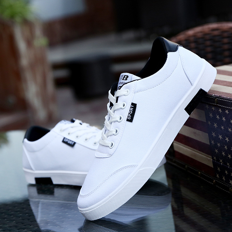 2018 Men Casual Shoes Classic Fashion Male Lace Up Flats Sneakers Breathable Black White Men Shoes Chaussure Homme Size 39-44