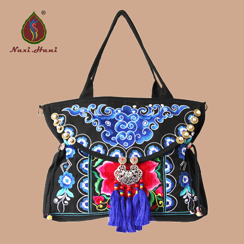 HOT Original embroidery women bags handmade tassel  Shoulder bags Vintage boho casual big travel inclined shoulder bags