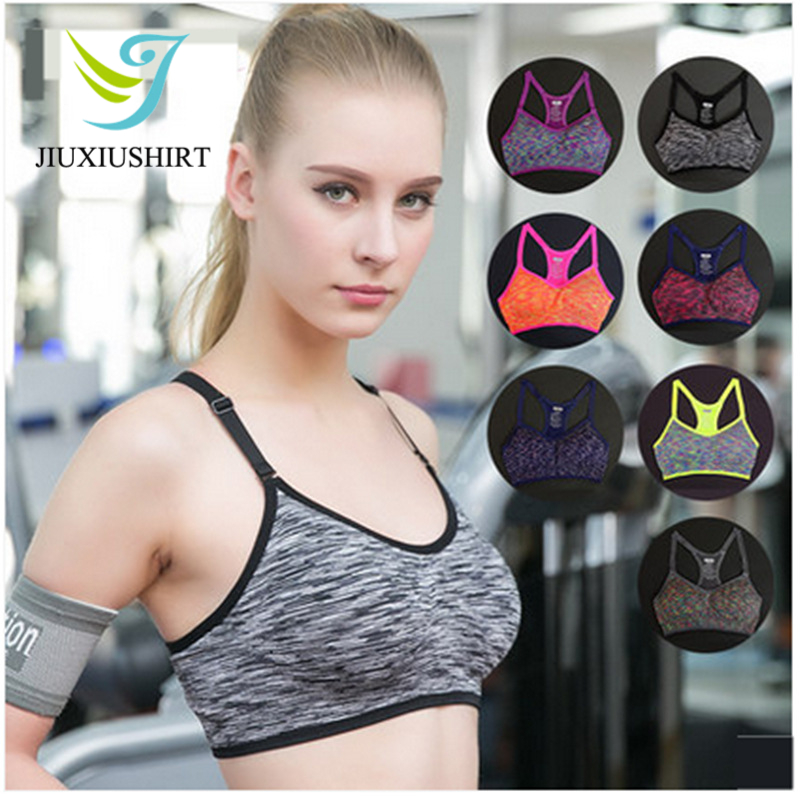 Women Sexy Fitness Yoga Sports Bra Running Gym Adjustable Spaghetti Strap Padded Top Seamless Shockproof Bra Athletic Vest S M L bqueen 2017 new sexy elastic spaghetti strap bandage top women crops tops for summer stretch v neck tight lady camis vest