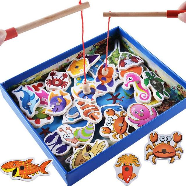 1Set Cute Baby Educational Toys Fish Wooden Magnetic Fishing Toy Set Fish Game Fishing Toy Child Birthday/Christmas Gift