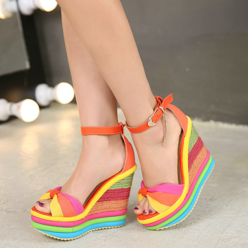 Heel Pumps Platform-Sandals 13cm Height Shoes Sexy Peep-Toe CY-13 Increasing