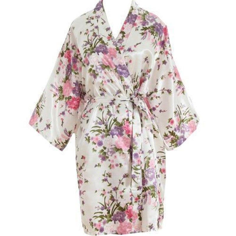 Women Summer Bridesmaid Satin Floral Print Casual Robe 3/4 Sleeve Wedding Nightdress Sleepwear Dressing Gown One Size