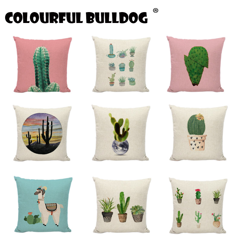 New Design Cactus Pillows Cases Modern Style Green Plant Linen Cotton Printed Home Decor Cute Office Spring Throw Cushion Covers