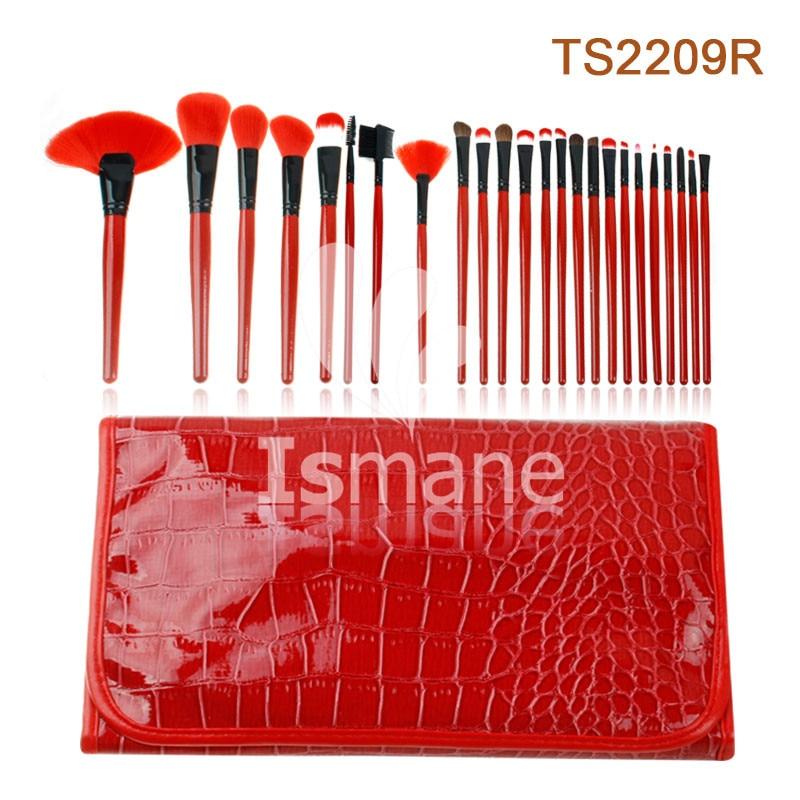 ISMINE 24Pcs Makeup Brushes Set Eyeshadow Foundation Wood Handle Blusher Powder Cosmetics Tool Chinese Red Stone Texture Pouch смартфон zte blade v8 черный 5 2 64 гб lte wi fi gps 3g bladev8black