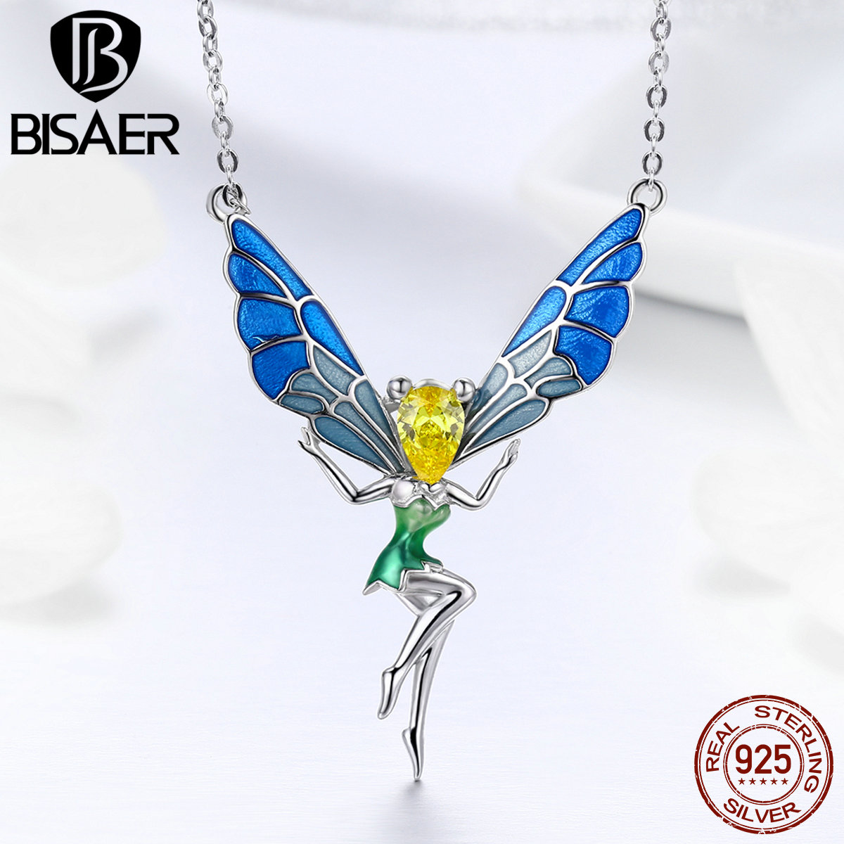 Authentic 925 Sterling Silver Fairy Guardian Angel Wings Girls Pendant Necklaces Women Collar Sterling Silver Jewelry ECN253