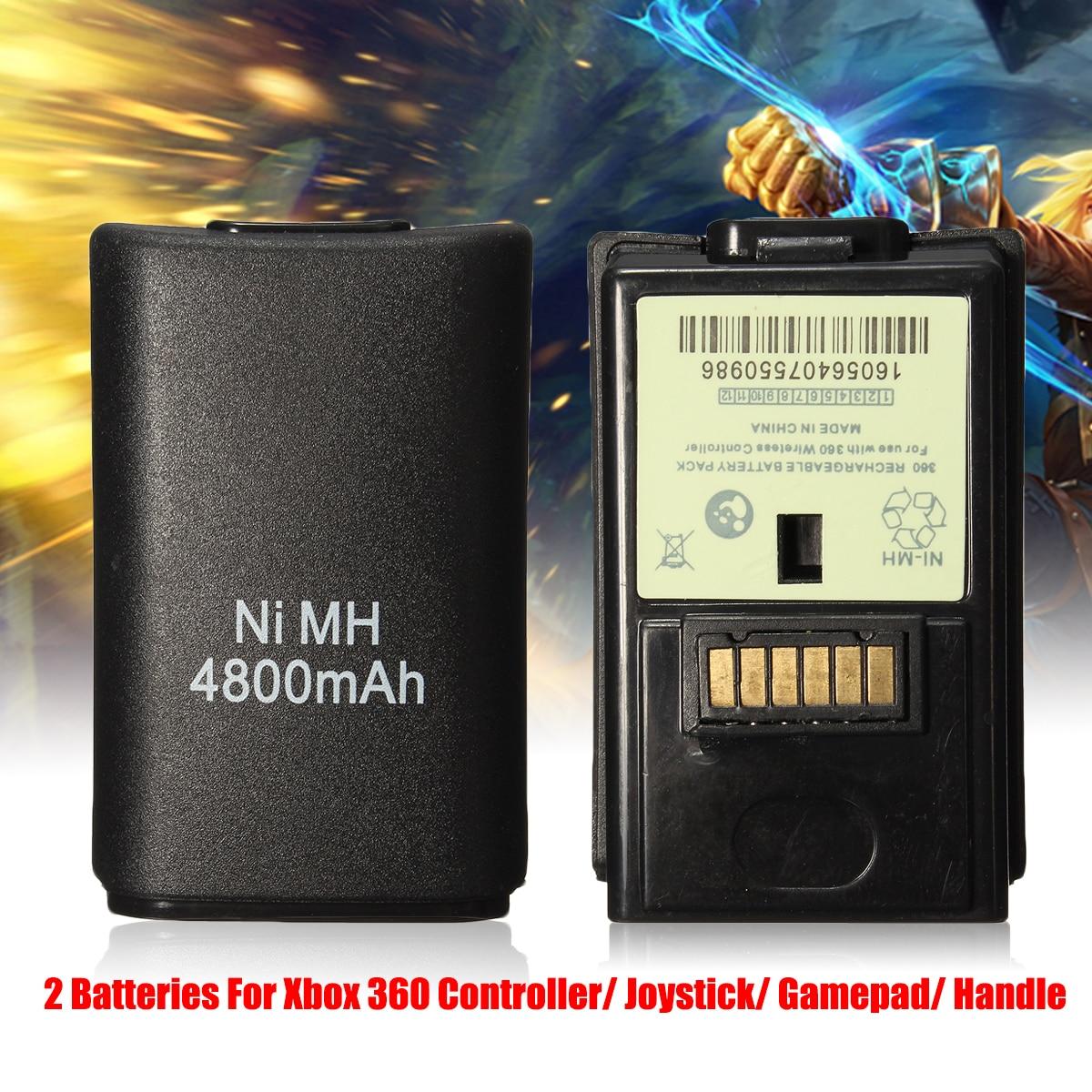 2 stücke 4800 mah Batterien + Lade Ladegerät Kabel Für Xbox 360 Wireless/Wired Controller Bateria Akku Pack