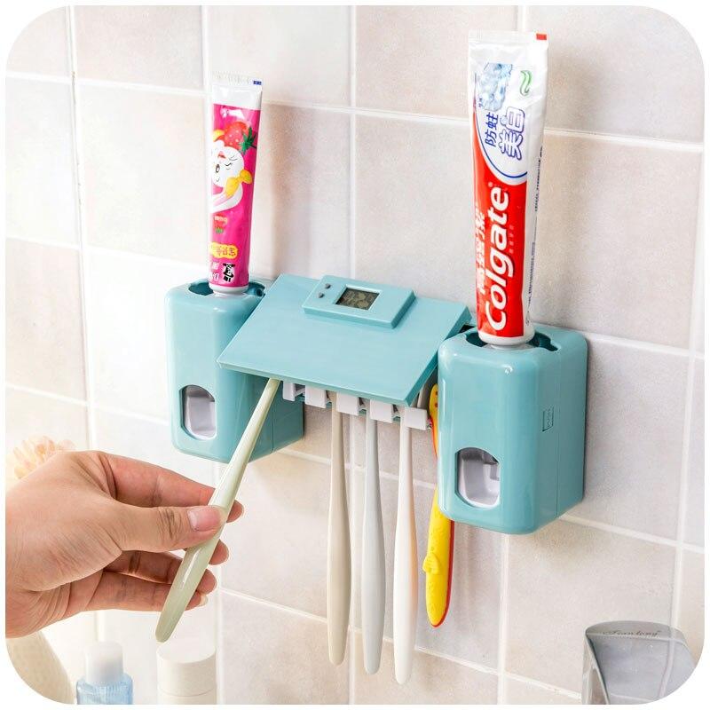 1 комплект Автоматический дозатор зубная паста соковыжималка + 5 отверстие для зубных щеток настенный Семейный комплект для ванной Интимные аксессуары