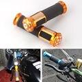 "2x Grips Motorcycle Sports Street Bike Gel Rubber Hand 7/8"" 22mm Handlebar Orange"