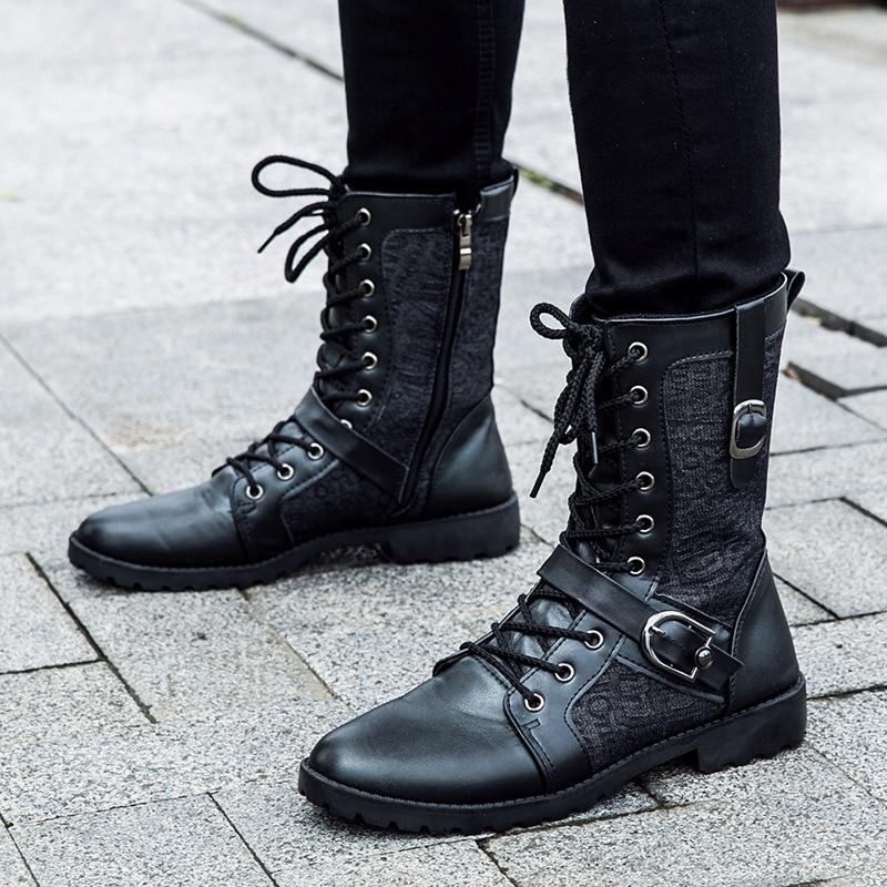 79094ac27fe Men Black Retro Combat Boots Belt Buckle Punk street Motorcycle Boots  Leather Military Boots Autumn Men Shoes