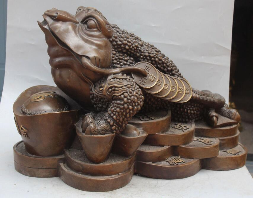free 24 Chinese Bronze Wealth Money Toad Cicada Statue fastfree 24 Chinese Bronze Wealth Money Toad Cicada Statue fast