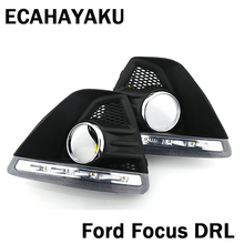 цена на ECAHAYAKU 1set 12V waterproof Daytime Running Light DRL Fog lamp with fog hole for Ford Focus Hatchback 2009 2010 2011 2012 2013