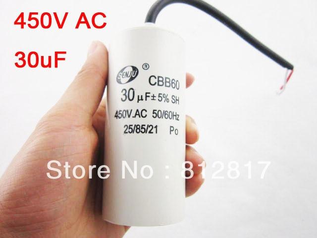 US Ship 2-Wired Cord 30uF 450VAC 50//60Hz CBB60 Motor Run Capacitor