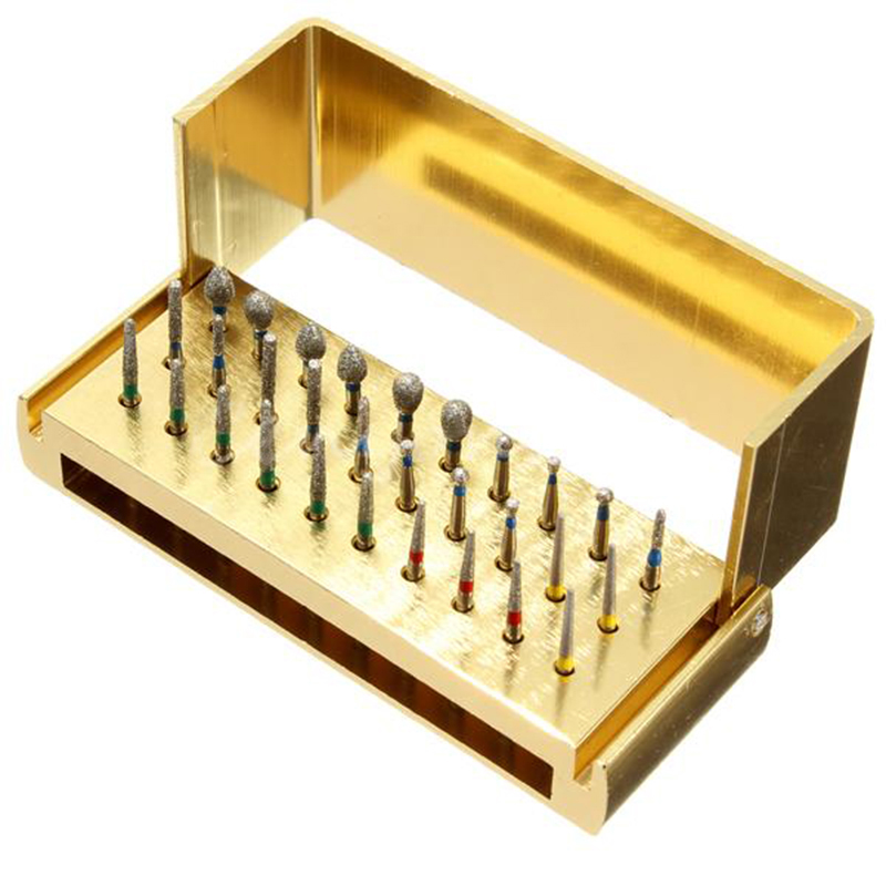 30Pcs Dental Diamond Burs Drill With Disinfection Block High Speed Handpieces Holder Burs Drills 30pcs dental diamond high speed burs drills for porcelain teeth 1 holder block