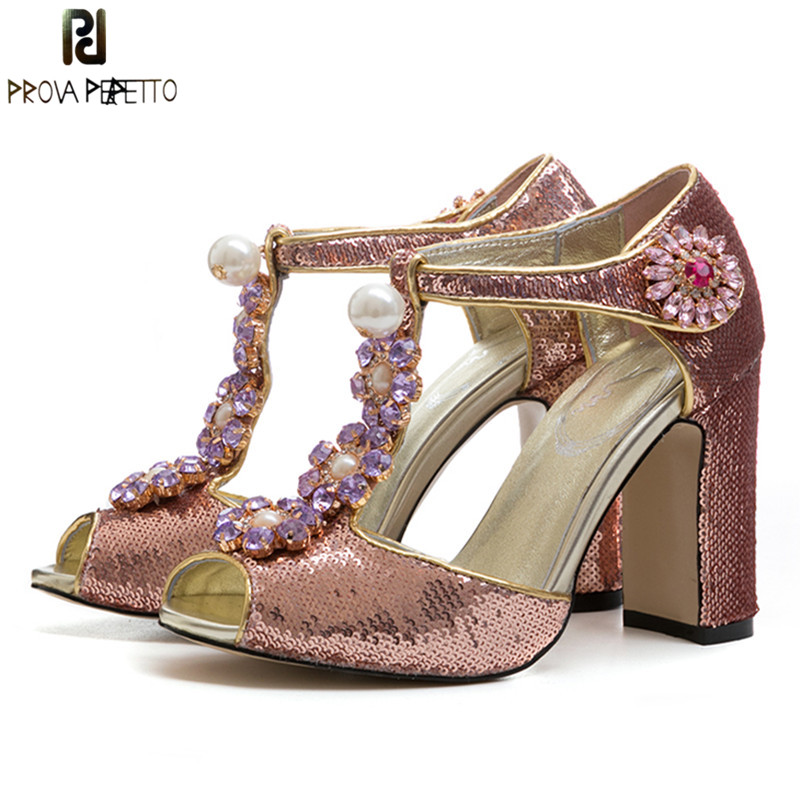 Prova Perfetto BlingBling Princess Shoes Rhinestone Flower High Heels Wedding Shoes Woman Paillette Party Shoes Peep Toe Sandals prova perfetto new women pumps high heels rhinestone flower wedding shoes woman sexy high heels party shoes sweet princess shoes