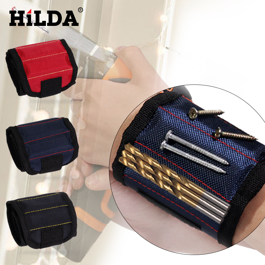 HILDA Polyester Magnetic Wristband Portable Tool Bag Electrician Wrist Tool Belt Screws Nails Drill Bits Holder Repair Tools new original projector lamp bulb phoenix shp132 for benq mp515