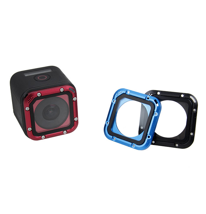 Aluminum Frame Filter Lens Cap Cover Waterproof Case For Go Pro Hero 5 Session Gopro 5S 4S Action Sport Camera Accessories kit zomgo stylish protective aluminum alloy bumper case for iphone 5 5s deep pink