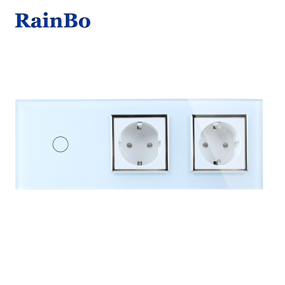 RainBo Brand Crystal Glass Panel Electronic Wall Socket EU Touch Switch Control Screen Wall Light Switch 1gang1way A39118E8ECW/B smart home touch control wall light switch crystal glass panel switches 220v led switch 1gang 1way eu lamp touch switch