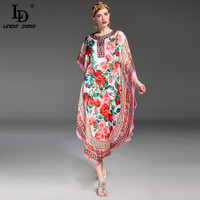 High Quality New 2017 Fashion Runway Spring Summer Dress Women's Charming Rose Floral Printed Beach Loose Dress