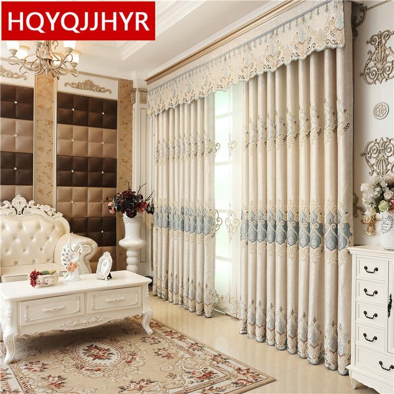 Cortina de cortina completa europea de lujo para villa Royal a medida para sala de estar Cortina de ventana Dormitorio Cortina de ventana cocina / Hotel