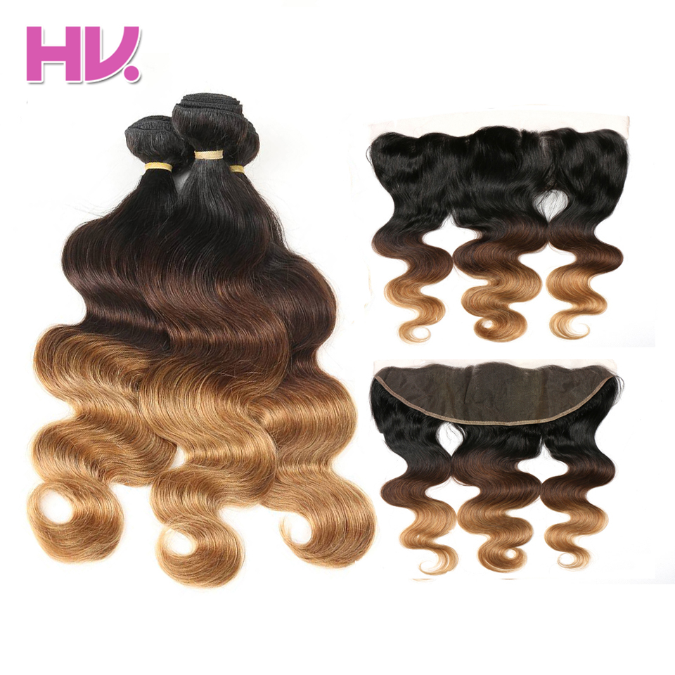 Indian Body Wave Ombre Hair #1B/4/27 3 Bundles With 13*4 Ear To Ear Lace Frontal Hair Villa Pre-Colored Non Remy Hair