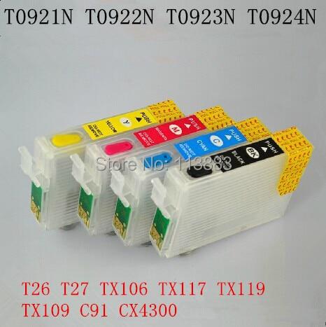 92N T0921N T0924N Refillable ink cartridge for EPSON T26 T27 TX106 TX117 TX119 TX109 C91 CX4300