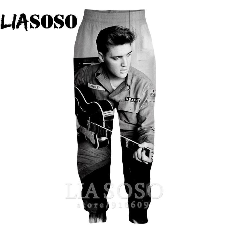 3d Print Men Women Full Length Hip Hop Harajuku ELVIS Presley Sweatpants Top Casual Pop Winter Pants Anime Jogger Trousers E556