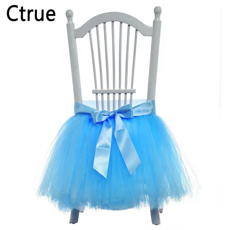 5pcs/lot 60CMx50CM Tulle chair skirt boy Baby Shower Decoration kids girl Birthday party decoration