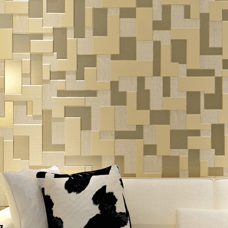 Beibehang Papel De Parede 3D Mosaic Lattice Wall Paper Europe Modern Embossed Flocking Living Room TV Background Wallpaper Roll