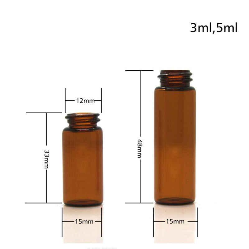 10 Uds. Viales de vidrio ámbar para aceites esenciales con tapón diferente de 1/2/3/5 ml botella dram de muestra
