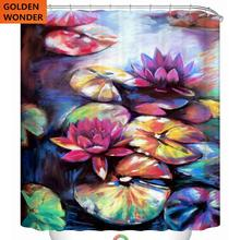 Fashion Lotus Flower Floral Shower Curtain Waterproof Thickened Bathroom Curtains High Grade Polyster Data Printing