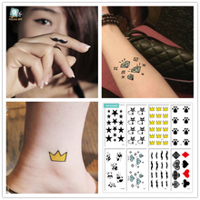HC Mixed 8 Sheets Classic Tattoos With Crown, Cat,Small Beard, Blue Diamond Design  Temporary for Female and Male.
