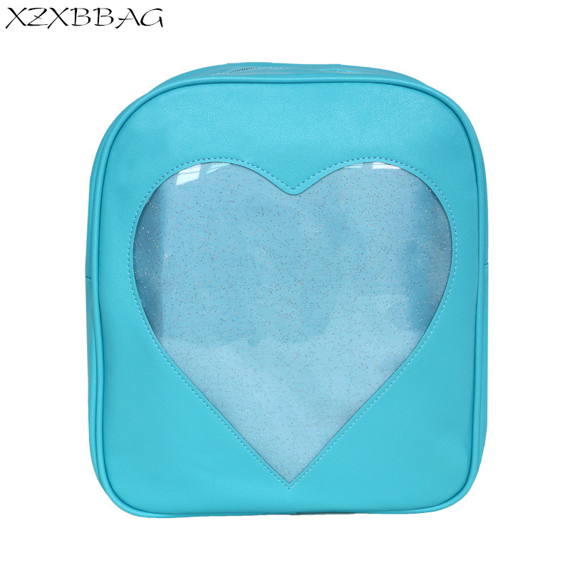 Xzxbbag Candy Color Pu Leather Ita Bag Diy Transparent Love Heart Shape Backpack Kawaii Harajuku Schoolbags For Teenage Girls