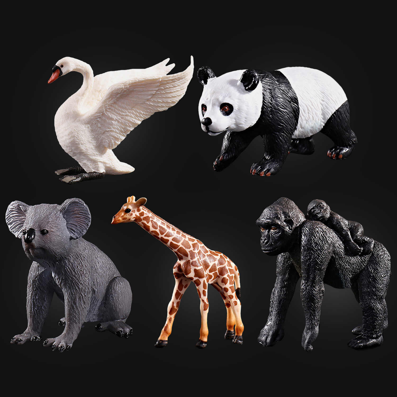 Crianças Mini Simulação De Plástico Realista Da Vida Selvagem Animais Panda Orangotango Girafa Koala Cisne Modelos Action Figure Brinquedos Educativos