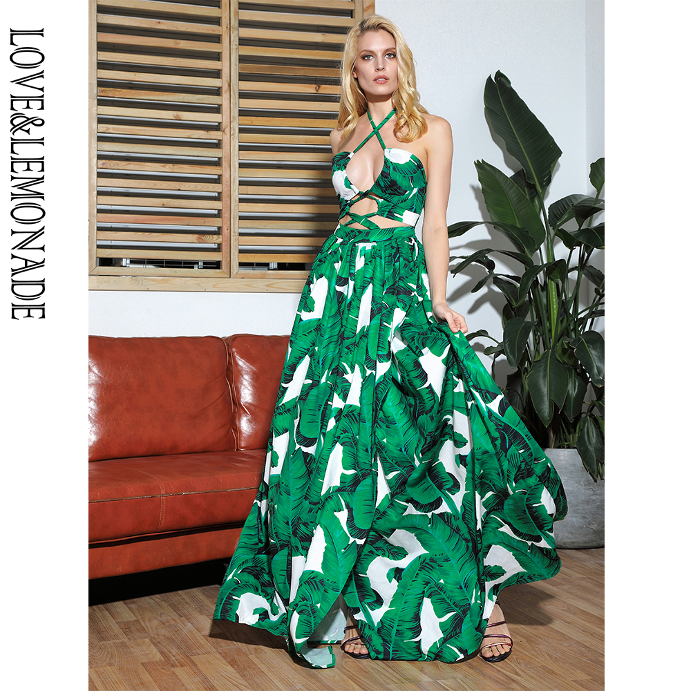 LOVE LEMONADE Sexy Cut Out Cross Straps Open White Big Leaves Print Beach Maxi Dress LM81811