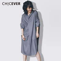 CHICEVER Spring Women Dress Shirt Long Sleeve Loose Big Size Casual 2018 Casual Women S Dresses