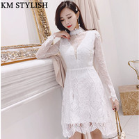 2019 New French Temperament Female High Collar White Lace Embroidered Long Sleeve High Waist A line Dress Dropshipping