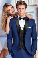 2018 latest designs navy blue man suit for wedding evening party satin peaked lapel custom blazer slim fit formal tuxedo 3 piece