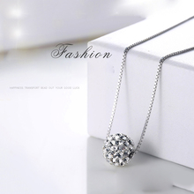 Silver Color Pendant Necklace Female Short Design Crystal Shambhala Ball Chain Pendant Necklace for Women Brief Anti-Allergic lelady crystal necklace original design women pendant