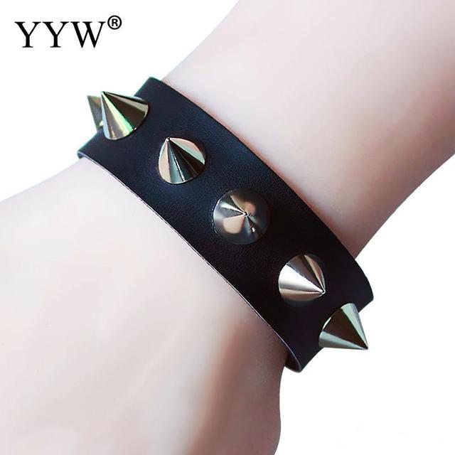 269458a97 Unisex Metal Cone Stud Spikes Rivet PU Leather Biker Wristband Wide Cuff  Punk Rock Bracelets Bangles
