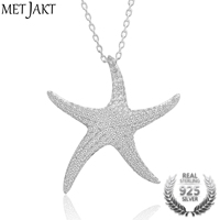 MetJakt Classic Starfish Pendant Zircon Necklaces Solid 925 Sterling Silver Necklace Adjustable Size for Women's Perfect Jewelry
