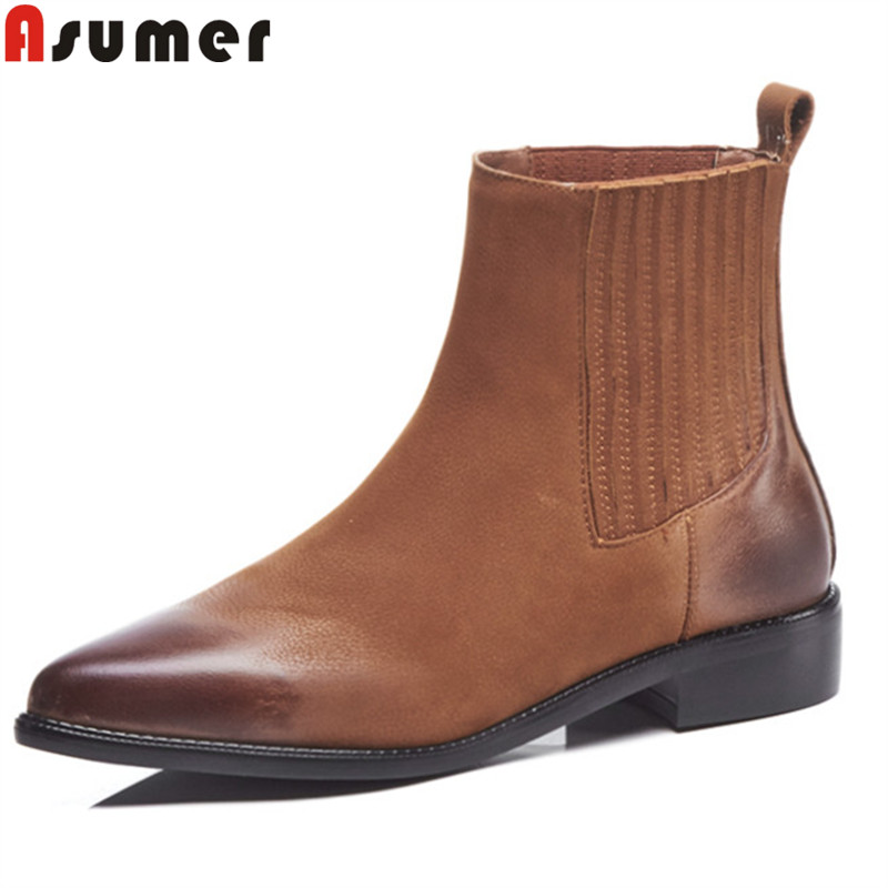 ASUMER big size 34-42 fashion autumn winter boots women pointed toe ankle boots low heels genuine leather boots classic shoes стоимость