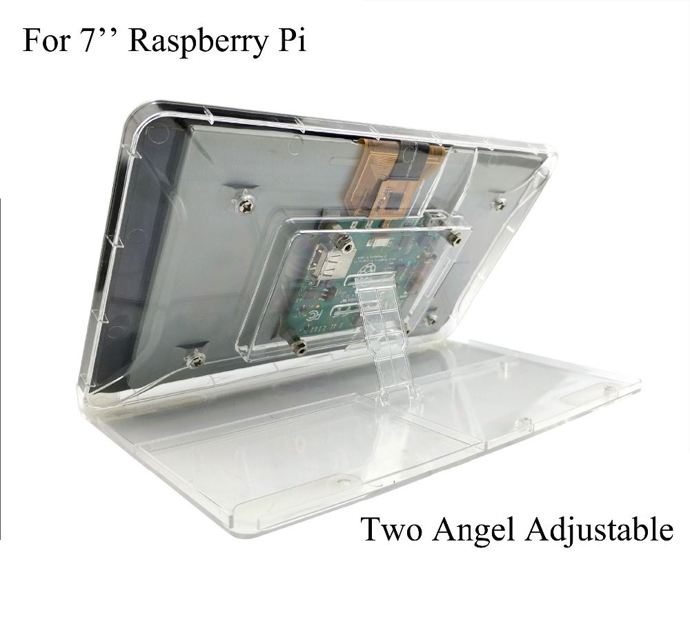 7 Inch Touch Screen Display Transparent ABS Case for Raspberry Pi With Adjustment Stand Protective Shell-in Coat Racks from Furniture