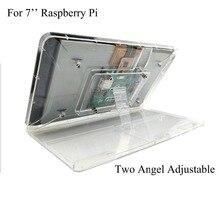 7 inç Dokunmatik Ekran Şeffaf ABS Kılıf Ile Ahududu Pi için Ayar Standı Koruyucu Kabuk